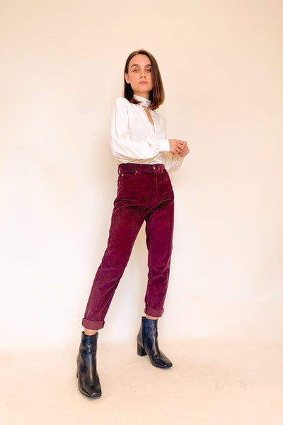 NORA CORDUROY PANTS DARK RED