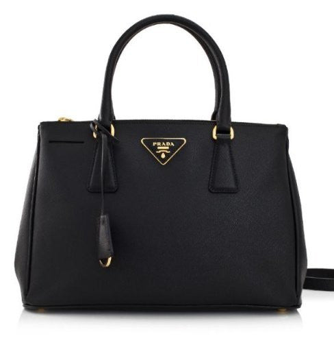 Prada Bn1786 Black Color. Saffiano Leather. Lux Tote Bag. Made in Italy