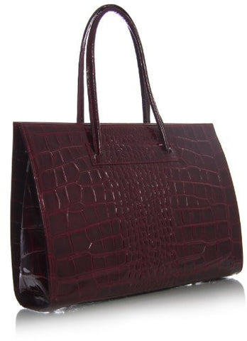Big Handbag Shop Womens Genuine Italian Leather Mock Croc Briefcases Satchel Bag (BI 890 Croc Dark Red)