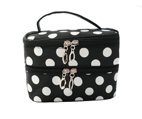 Dr's K Fashion Dots Pattern Double Layer Closure Cosmetic Bag Make up Bags Great for Home or Professinal Use + Mirror (Black+White Dot)