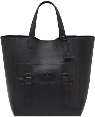 Mulberry North South Maisie Tote (Black Polished Calf)