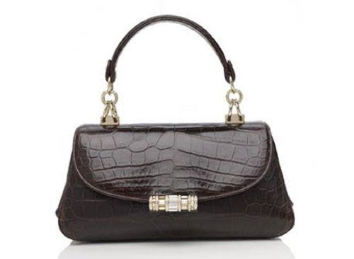 NEW Judith Leiber Nabila Crocodile Exotic Shoulder Bag Mocha-RETAIL $7995
