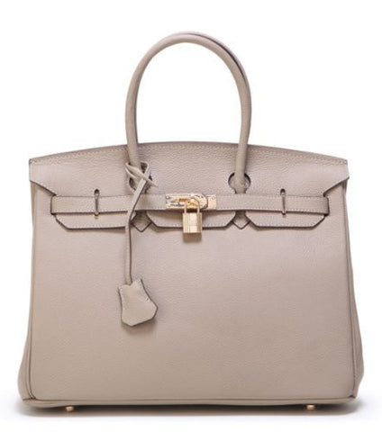Bagroo Genuine Leather Handbag Padlock Handbags Satchel Padlock Tote Purse (Big--35cm, Taupe)