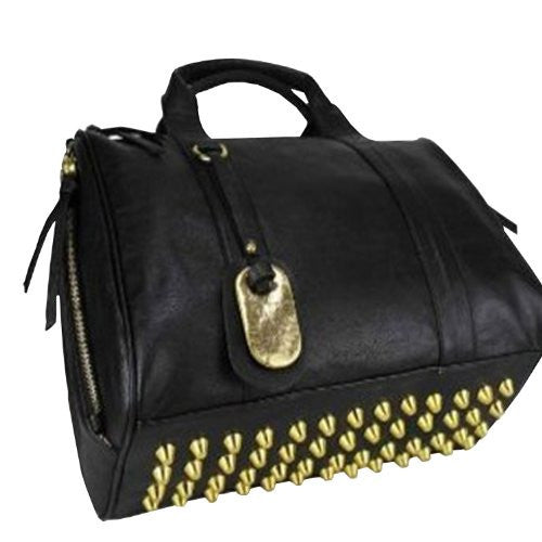 Thinkbayu00ae Faux Leather Rockie in Black Hobo Bag, Studded Ladies Tote with Antique Brass Rivet, Rock Punk Style Barrel Long Handle Handbag Shoulder Bag