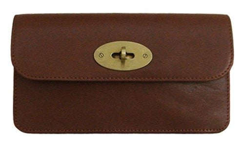 Lush Leather Turnlock Flap Chestnut Brown Clutch Wallet
