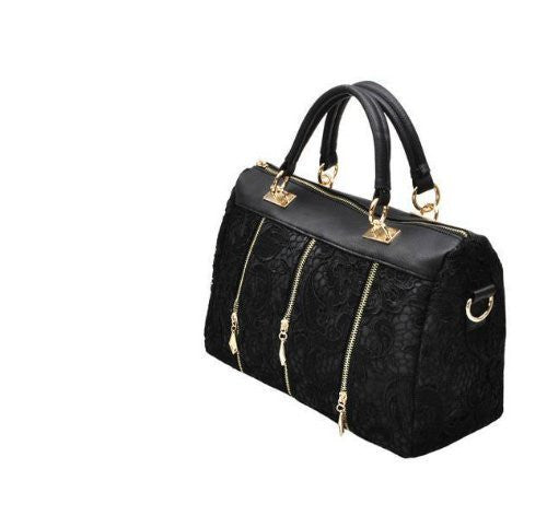 Women's 3 Colour Vintage Lace Handbag (Black)