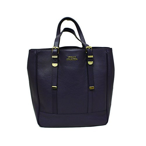 Versace 796430 Versace Collection Purple Leather Shopping Tote Bag