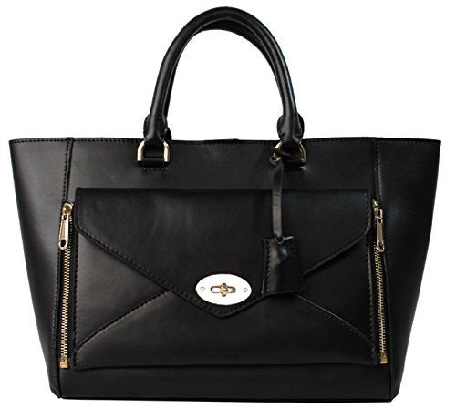 Lush Zip Off Leather Black Tote Bag