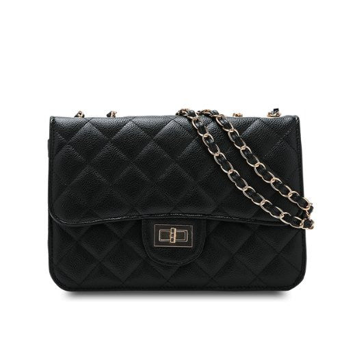 Designer Inspired Quilted Single Shoulder Bag - Black