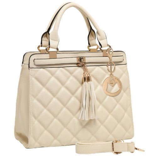MG Collection Mircea Quilted Decor Tassel Doctor Style Office Shoulder Bag, Beige, One Size