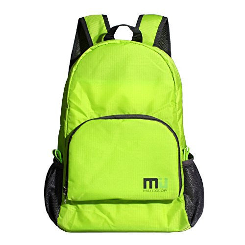 MIU COLORu00ae Packable Handy Lightweight Nylon Backpack Daypack - Foldable and Water Resistant (Green)