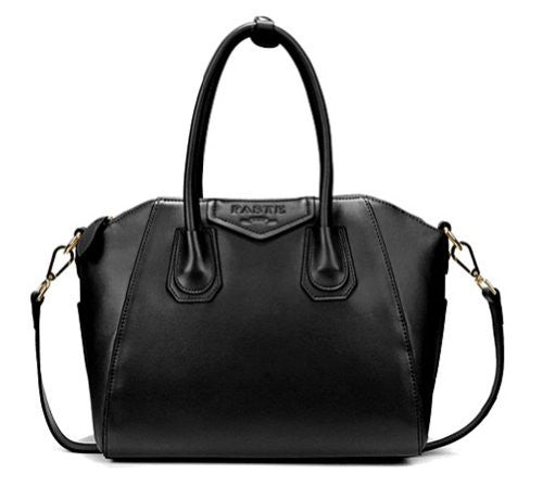 VIVILLI Designer Inspired Shine Leather Structured Satchel Shopper Tote Purse Bowling Leather Handbag