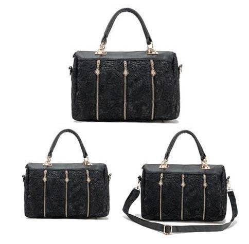 Women's Lace Designer Pu Handbag (Black)