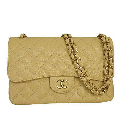 CHANEL Women's Caviar Leather W Flap Chain Shoulder Bag Beige A58600
