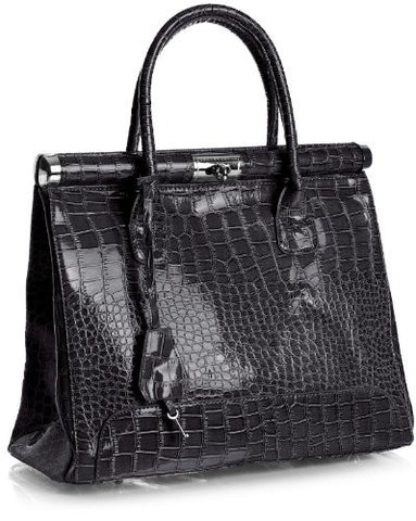 Big Handbag Shop Womens Mock Croc Shiny Gloss Silver Key Padlock Satchel Work Bag (K03T Greyish Coffee)