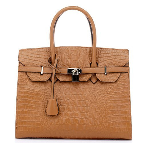 Vicenzo Aidos Gator Italian Leather Tote Handbag