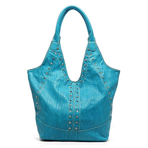 Rodeo No. 152 Mesa Crystal Zippered Shoulder Tote (Aquamarine)