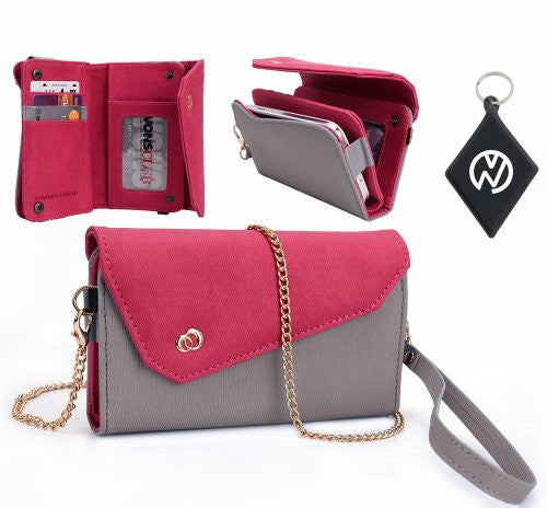 LG Prada 3.0 Wallet Crossbody Wristlet Clutch with ID, Credit Card and Money compartments. Includes one detachable chain and arm strap. Color: Grey Magenta + NuVur u2122 Keychain