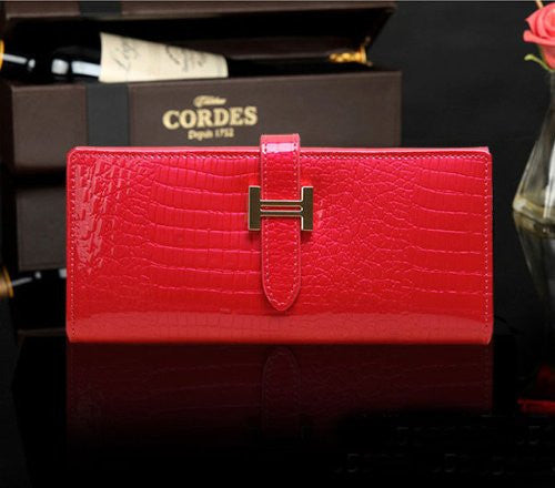 Eonice Fashion Womens Wallet Croco Embossed Genuine Leather Wallet Women Purse Rose