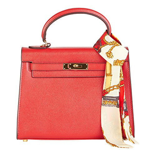 Beaute Bags Grace Padlock Frame Handbag Genuine Textured Leather with Scarf
