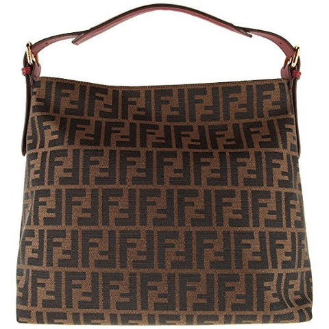 Fendi Genuine Authentic Zucca Pattern Tobacco/brown Rose Leather Canvas Borsa Hobo Shoulder Bag