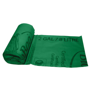 "15.35"" X 16.6"" X 0.64 Mil 2 Gallon Green Certified Compostable Plastic Trash Can Liners"