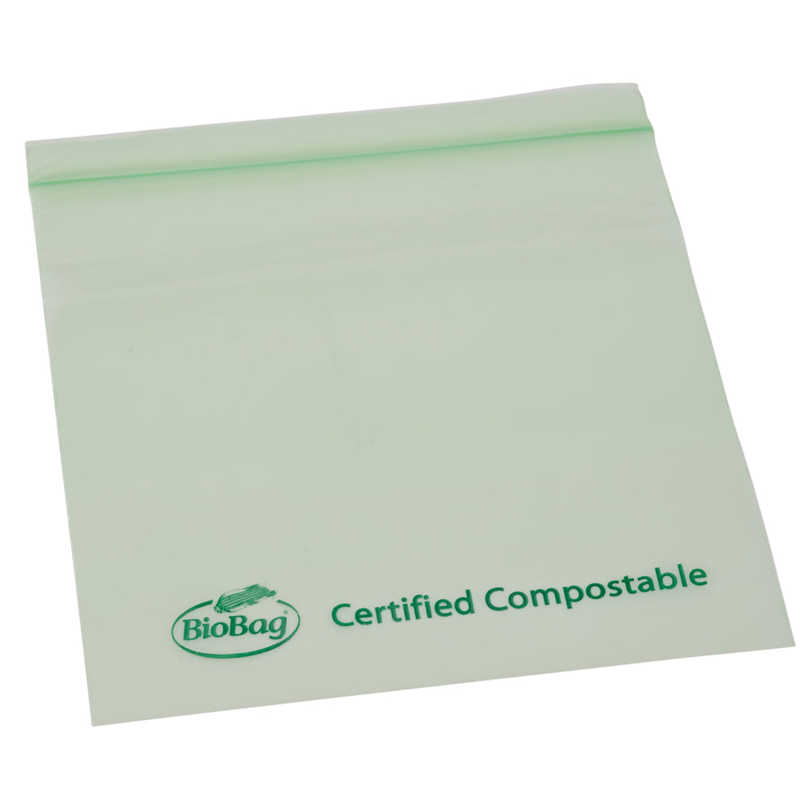 "6.5"" X 6.7"" X 1.8 Mil Sandwich Size Green Certified Compostable Plastic Resealable Food Storage Ziplock Bags"