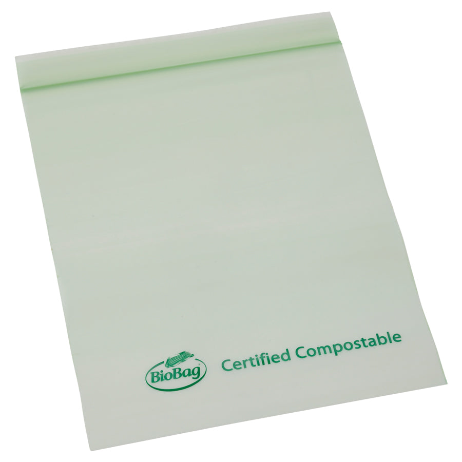"7"" X 8.7"" X 1.8 Mil Quart Size Green Certified Compostable Plastic Resealable Food Storage Ziplock Bags"