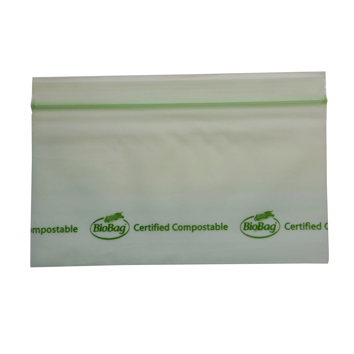 "6.5"" X 3.5"" X 1.8 Mil Snack Size Green Certified Compostable Plastic Resealable Food Storage Ziplock Bags"