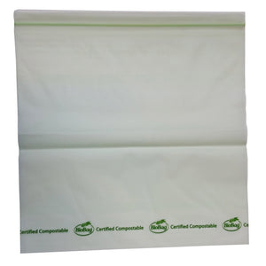 "10.6"" X 10.75"" X 1.8 Mil Gallon Size Green Certified Compostable Plastic Resealable Food Storage Ziplock Bags"