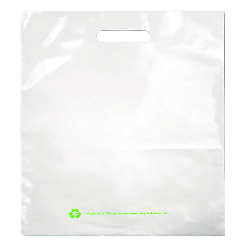 White 25% Post Consumer Recycled Plastic Merchandise Bags