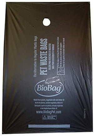"8"" X 11.4"" X 0.9 Mil Black Certified Compostable Plastic Pet Waste Bags (2,500 Bags Packed 50 Bags/Box, 50 Boxes/Case)"