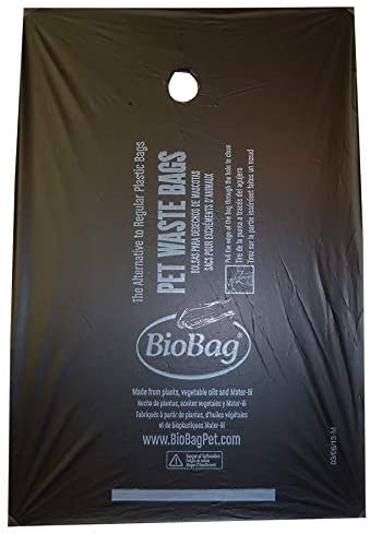 "8"" X 11.4"" X 0.9 Mil Black Certified Compostable Plastic Pet Waste Bags (4,000 Bags Packed 200 Bags/Box, 20 Boxes/Case)"