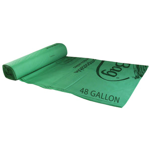"42"" X 48"" X 0.8 Mil 48 Gallon Green Certified Compostable Plastic Trash Can Liners"