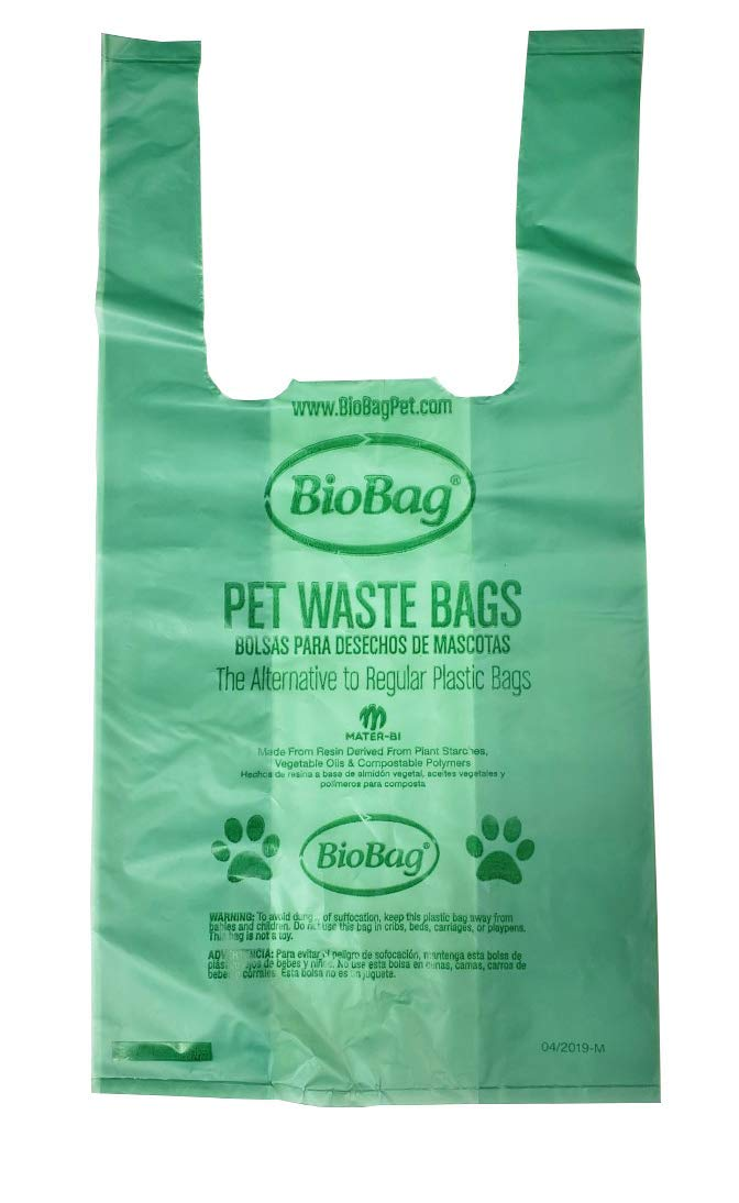 "11.5"" X 13.5"" X 0.9 Mil Green Certified Compostable Plastic Pet Waste Bags With T-Shirt Handle (3,000 Bags Packed 150 Bags/Box, 20 Boxes/Case)"