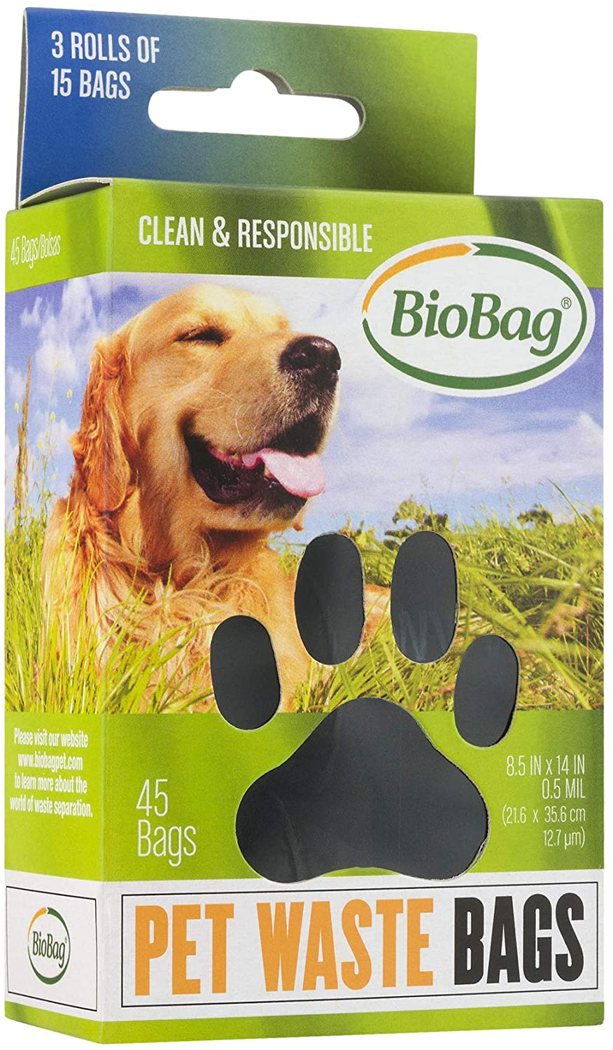 "8.5"" X 14"" X 0.5 Mil Black Certified Compostable Plastic Pet Waste Bags (540 Bags Packed 15 Bags/Roll, 3 Rolls/Box, 12 Boxes/Case)"