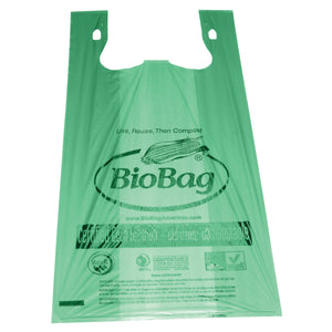 "17.7"" X 22.8"" X 0.96 Mil Green Certified Compostable Plastic Grocery Store Checkout Bags"