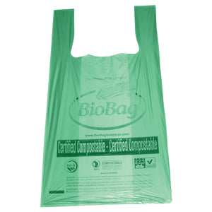 "16.1"" X 19.7"" X 0.8 Mil Green Certified Compostable Plastic Grocery Store Checkout Bags"
