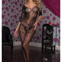 Swirl Lace Body stocking Queen Black