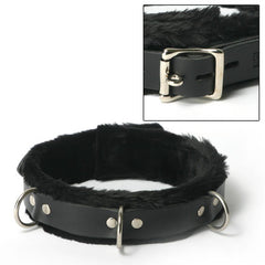 Strict Leather Collar Fur Lined 1 Inch Wide One Size