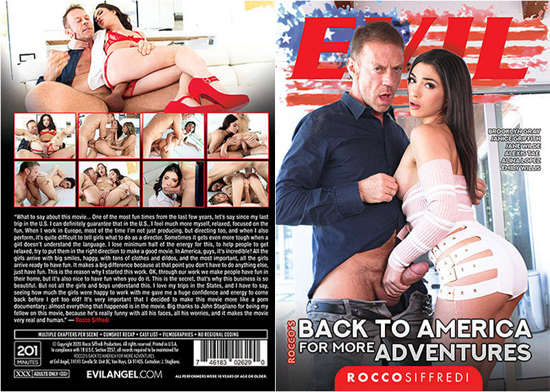 Rocco's Back To America For More Adventures Evil Angel  - Sealed DVD