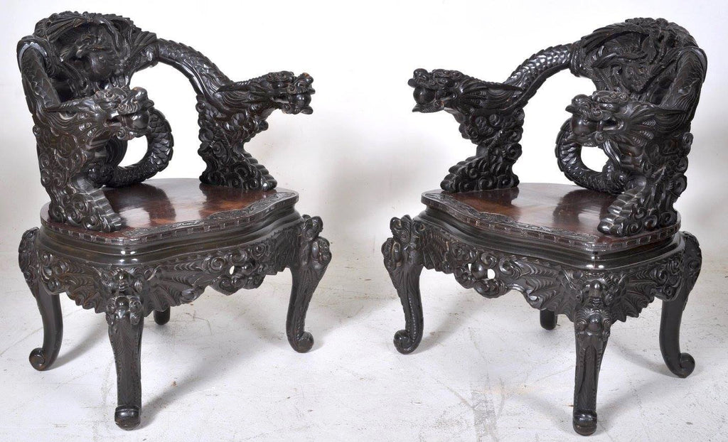 Pair of Antique Chinese Rosewood Dragon Armchairs, Circa 1900