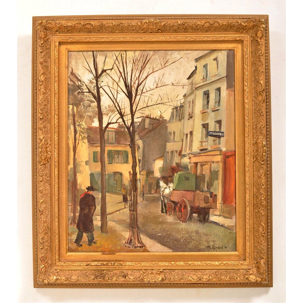 French Oil on Canvas Post Impressionist New School of Paris Painting Street Scene Michel Dureuil 1948