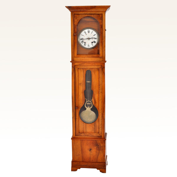 Antique French 8-Day Cherry Wood Longcase/Grandfather Comtoise Morbier Clock, circa 1820