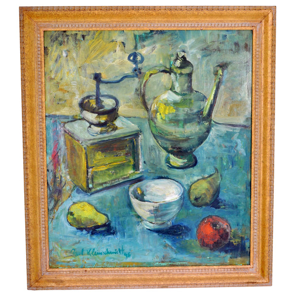 German Expressionist Still Life Oil Painting by Paul Kleinschmidt (1883-1949), 1946