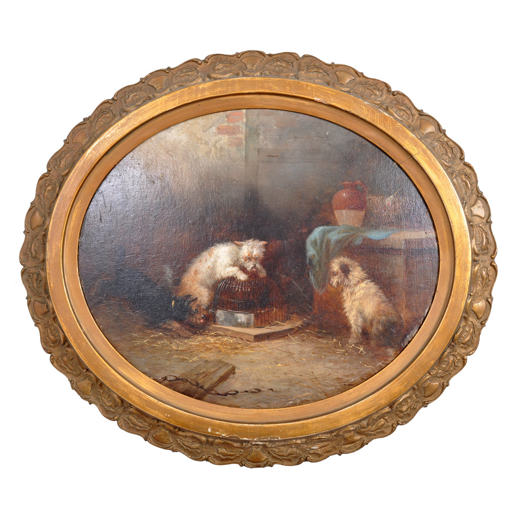"Antique English Oil Painting, ""Three Terrier Dogs,"" George Armfield (1808-1893), circa 1860"