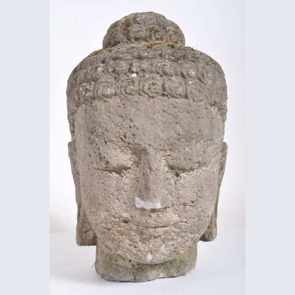 Antique 18th Century Chinese Qing Dynasty Carved Stone Head of Buddha
