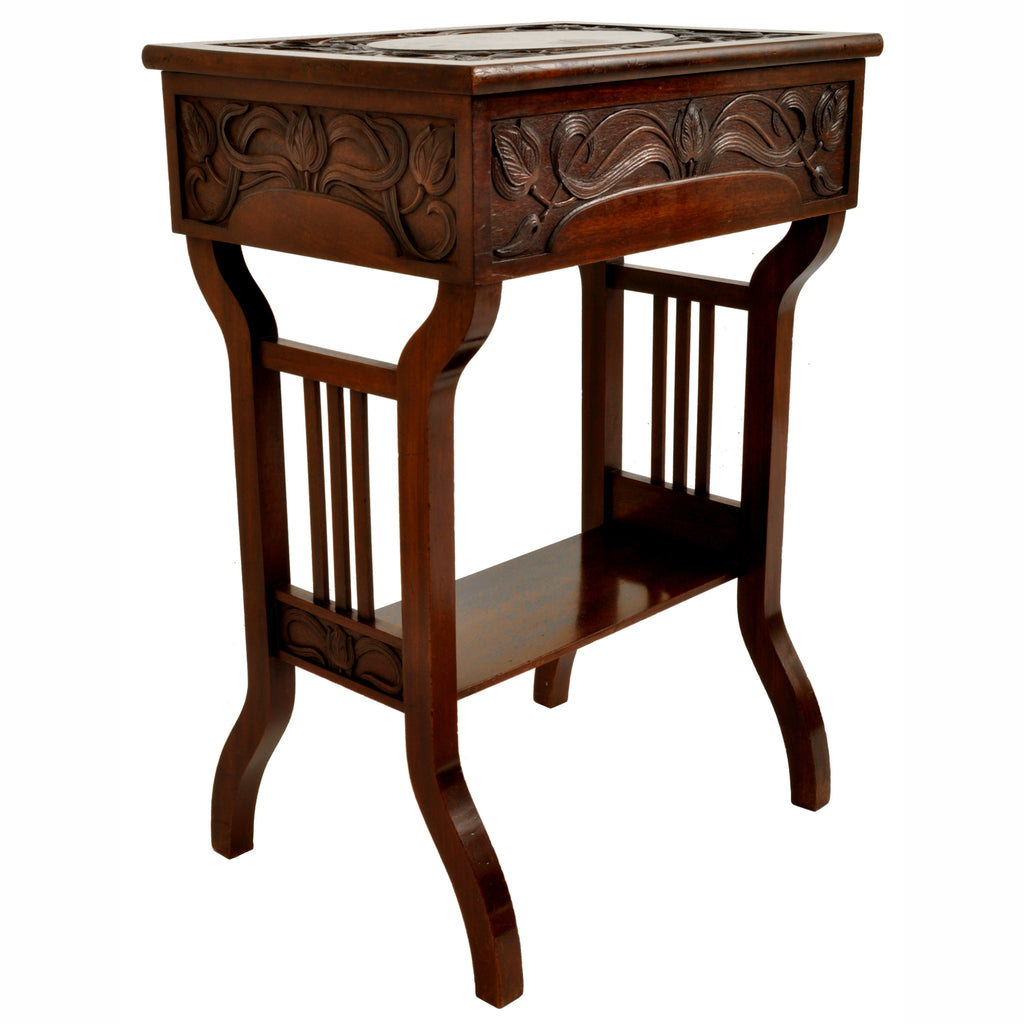 Antique Art Nouveau Scottish Arts & Crafts Carved Walnut Sewing Work Table, circa 1900
