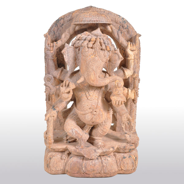 Antique 17th Century Hindu Carved Sandstone Ganesha Statue / Stele India 1600's