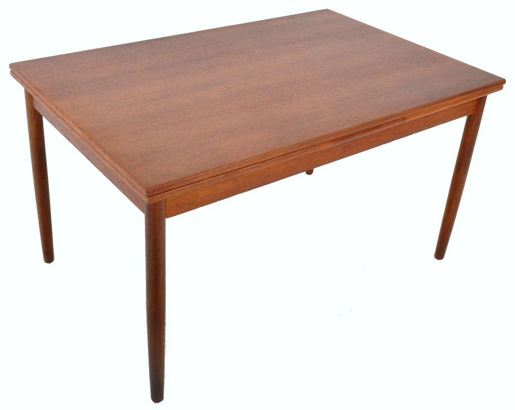 Mid-Century Modern Draw Leaf Dining Table in Teak, 1960s